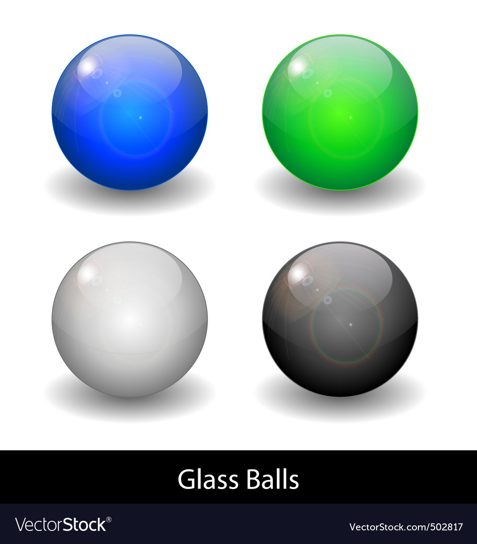 Glossy color abstract glass balls vector