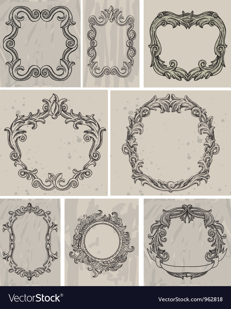 Set of vintage frames and design elements vector