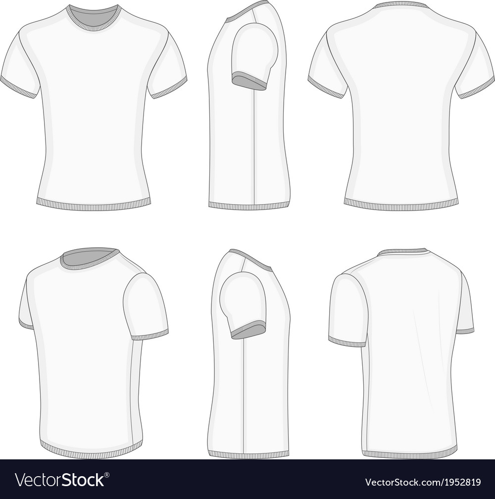 Mens white short sleeve t-shirt vector