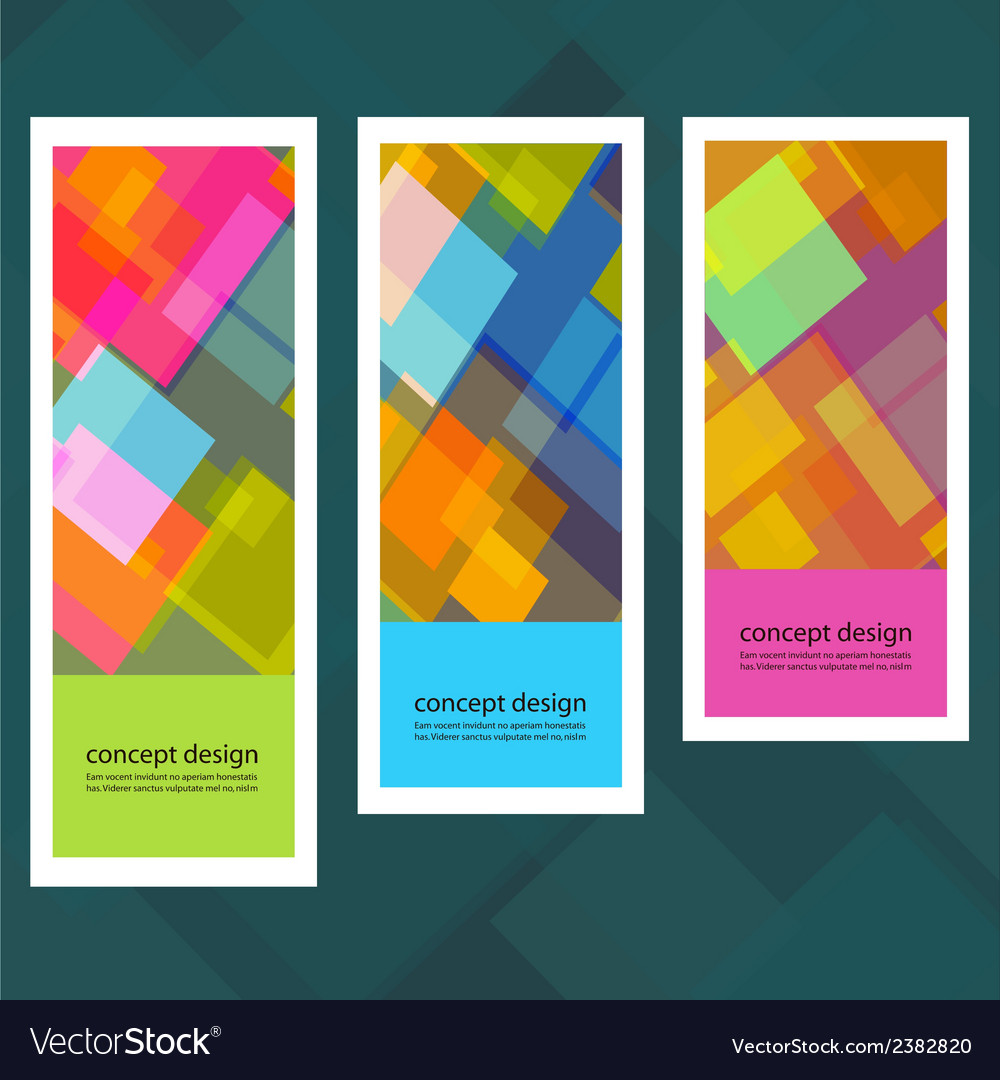 Set of creative stickers with colored squares vector