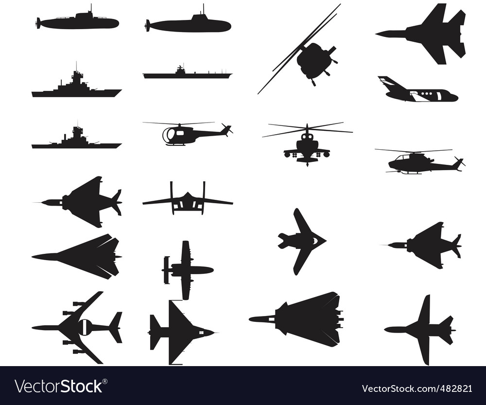 Army vehicle silhouettes vector