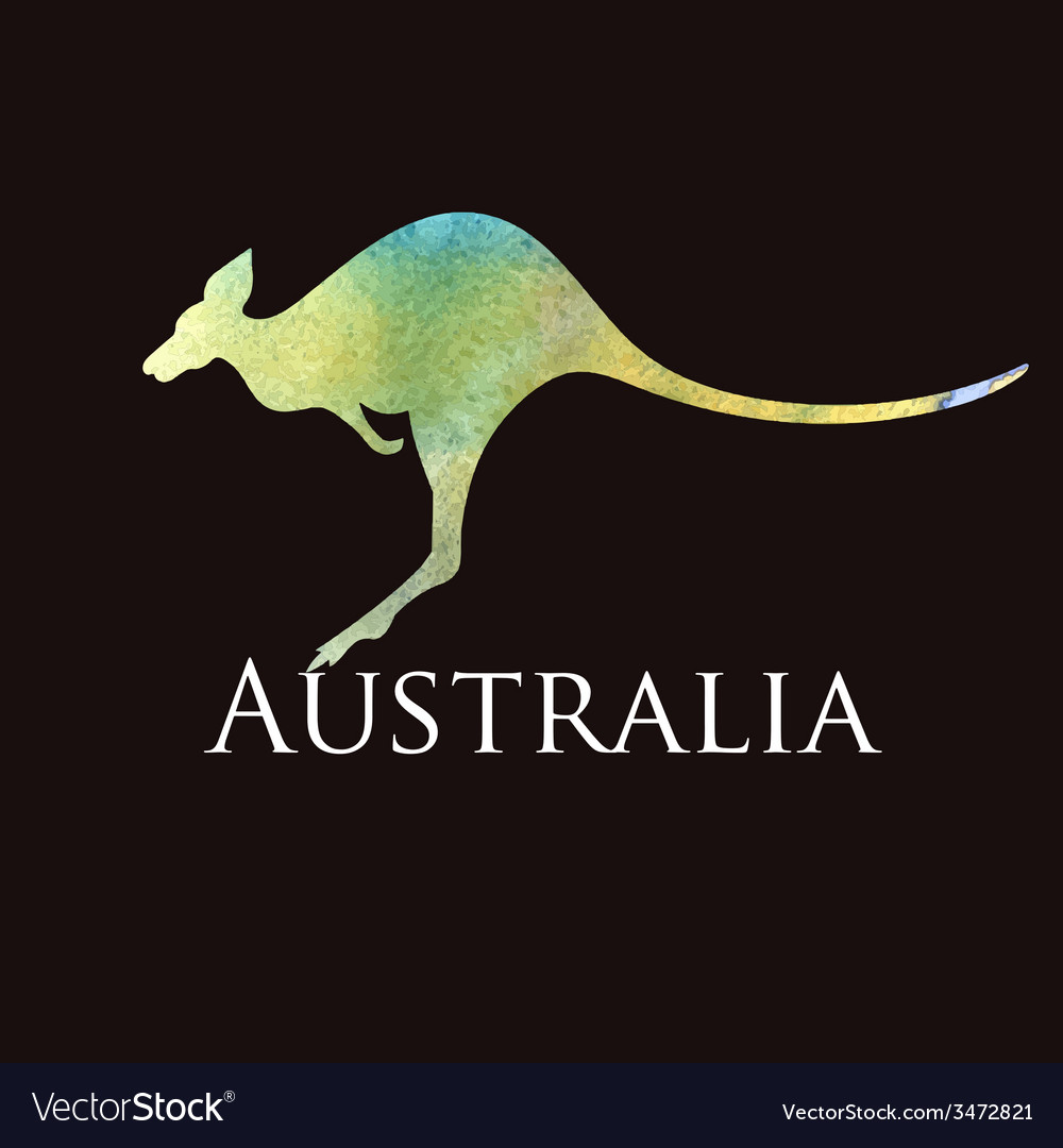Watercolor silhouette kangaroo sign vector