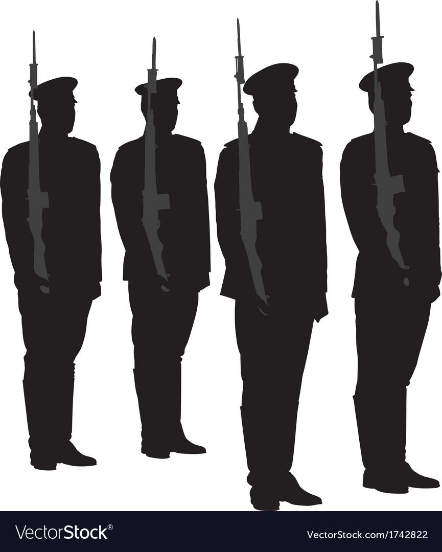 Honor guard silhouette vector