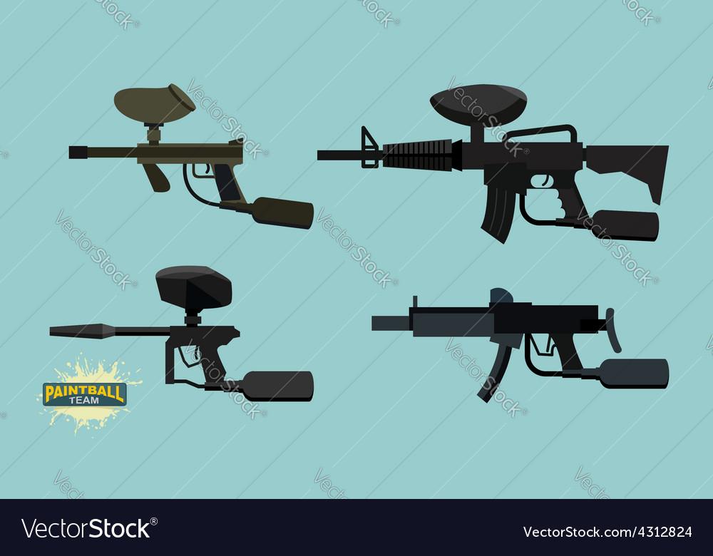 Set paintball guns vector