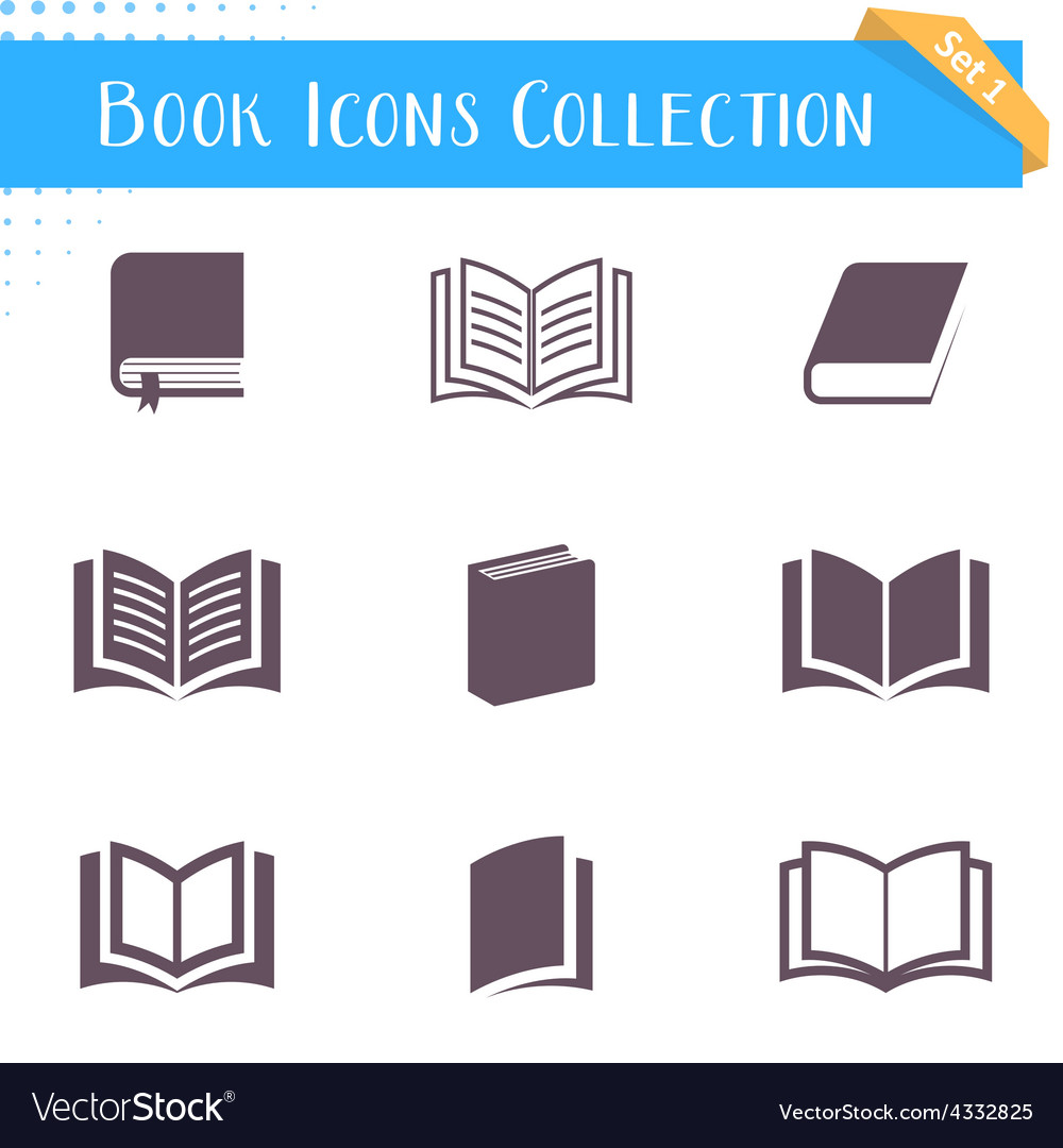 Book icons collection vector