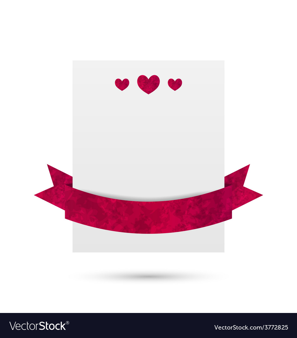 Celebration paper banner with hearts and ribbon vector