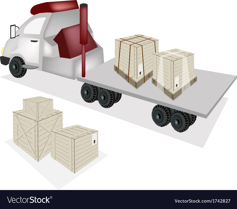 A tractor trailer flatbed loading wooden crates vector
