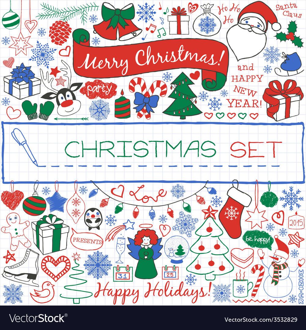 Doodle christmas season icons and vintage graphic vector