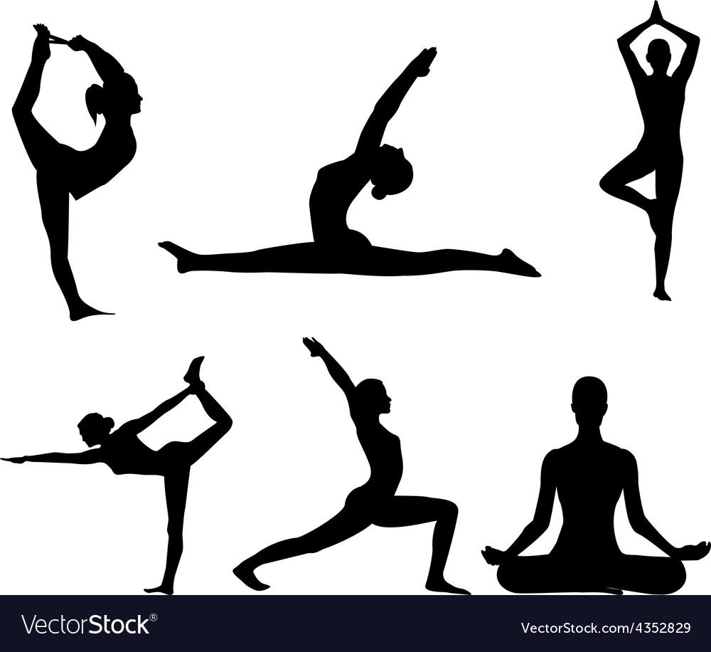 Girl makes yoga exercise vector