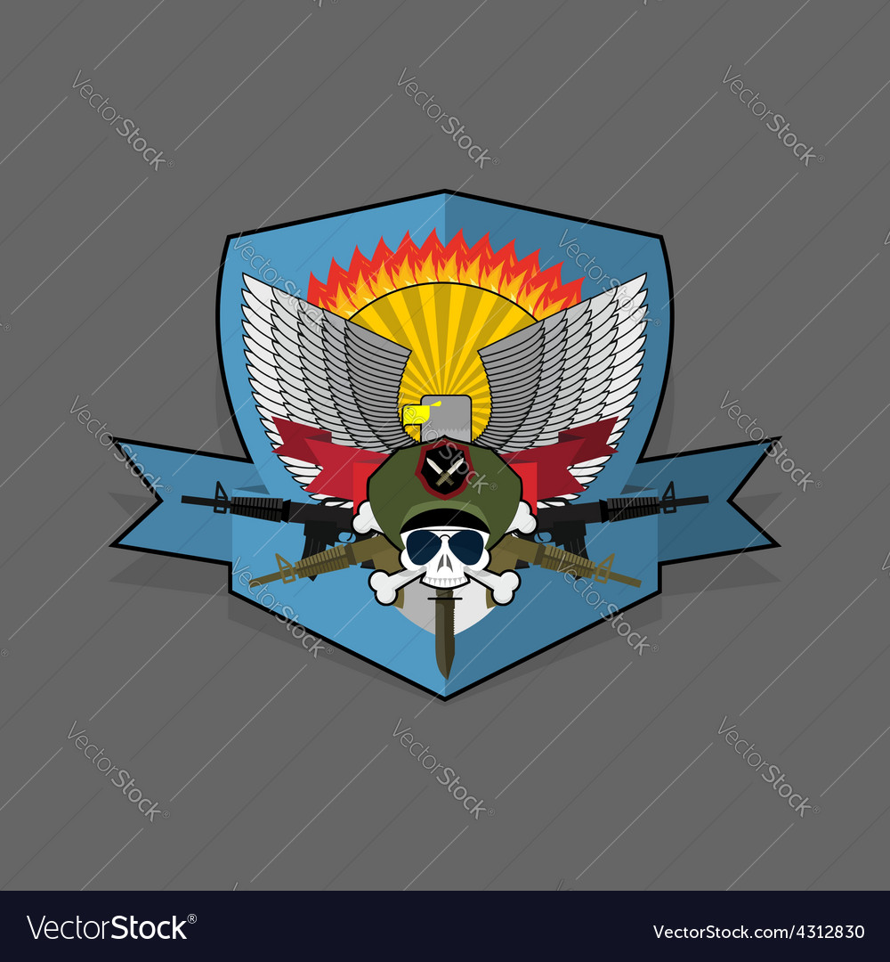 Special forces emblem military logo embroidery vector