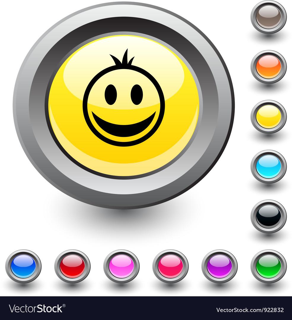 Smiley round button vector