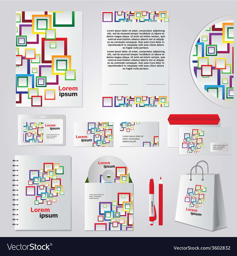 Stationery template design with color square vector