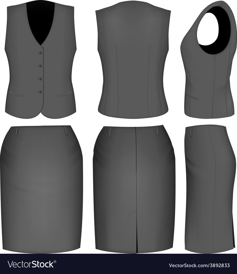 Formal black skirt suit for women vector