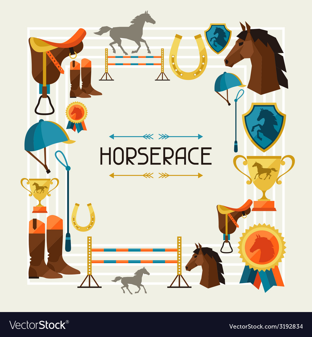 Frame with horse equipment in flat style vector