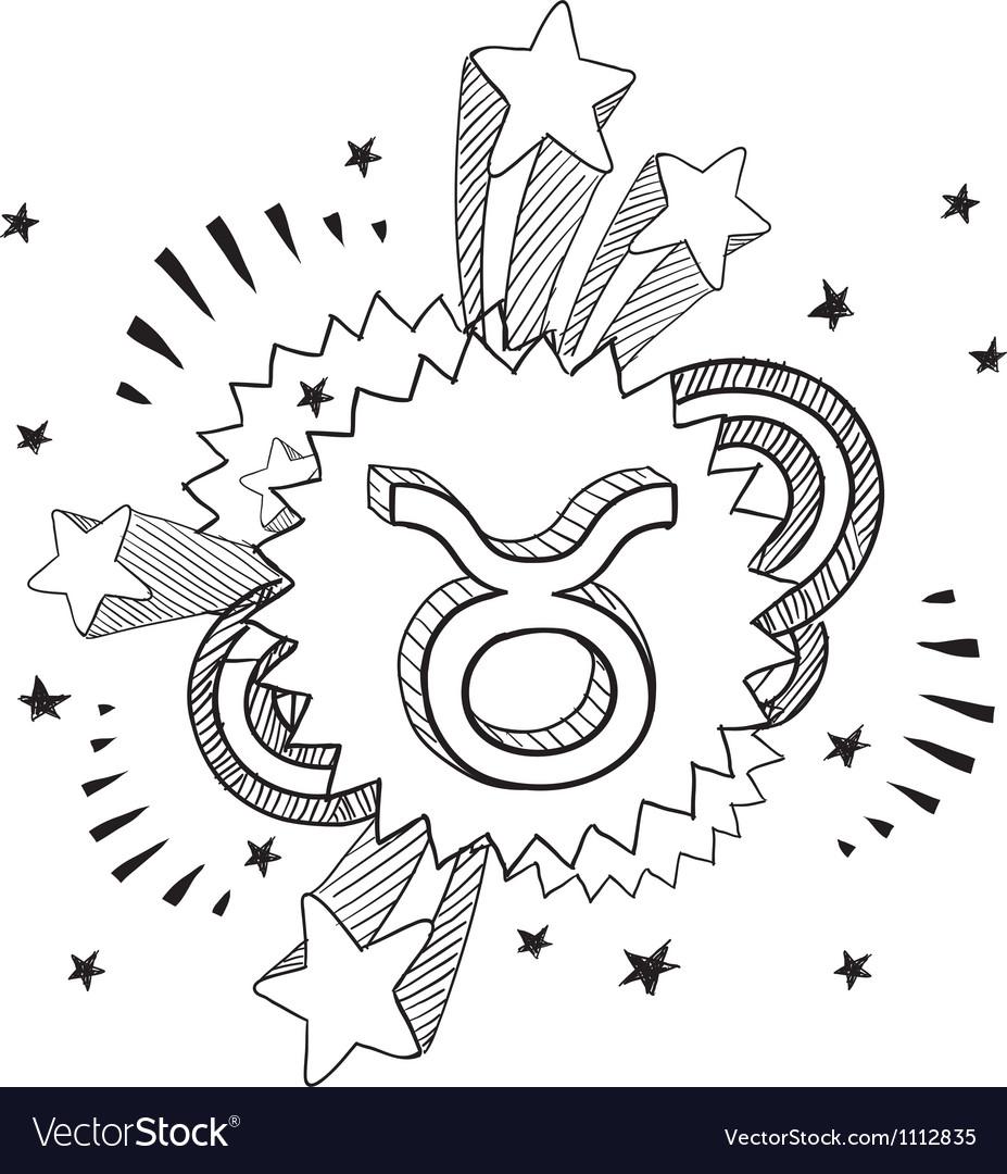Doodle pop astrology taurus vector