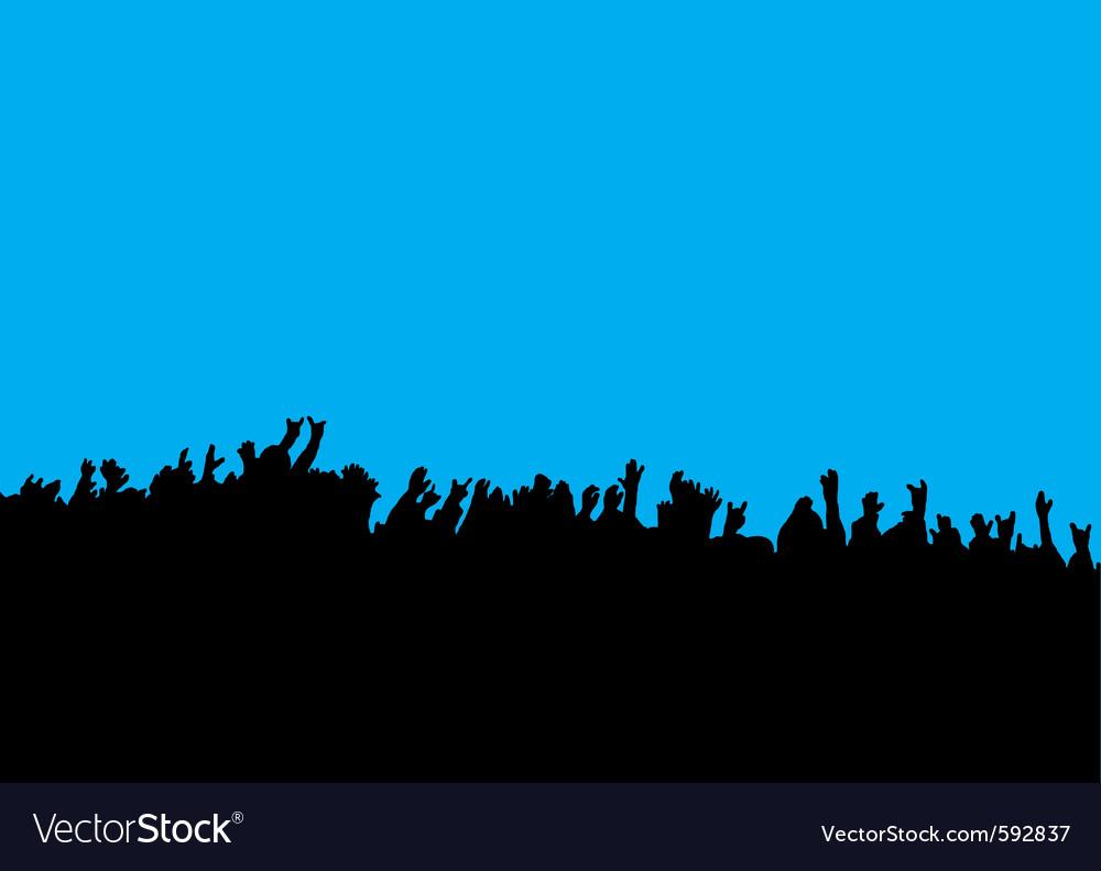Crowd hands at concert vector