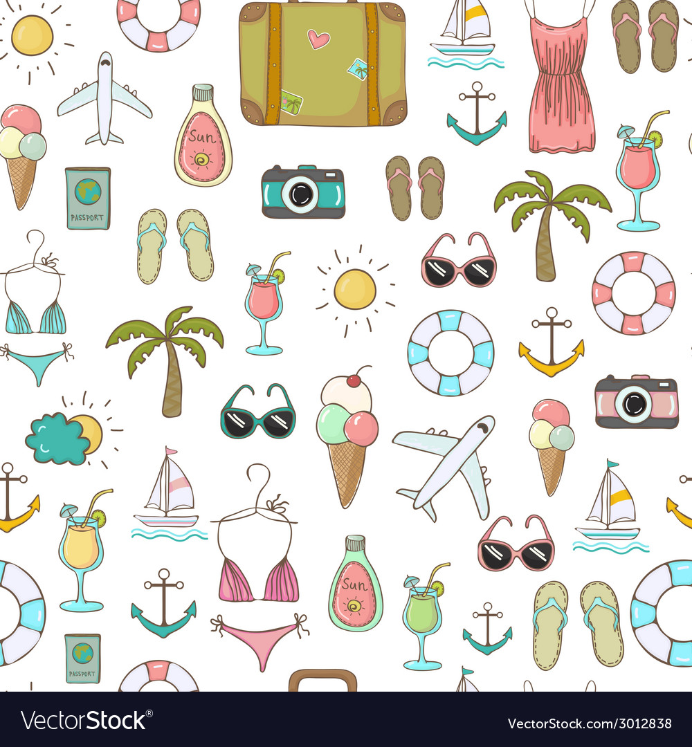 On vacation summer seamless pattern vector
