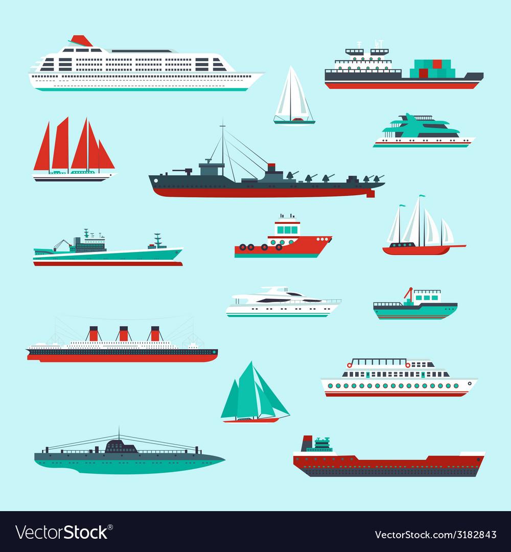 Ships and boats set vector