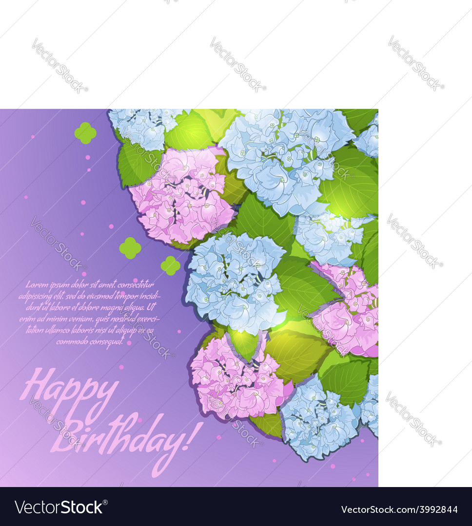 Floral decorative card with hydrangea vector