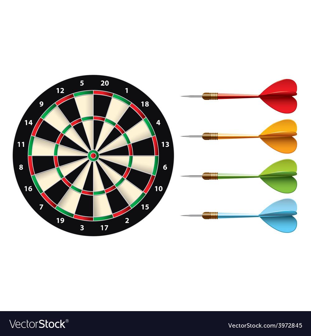 Darts set isolated vector