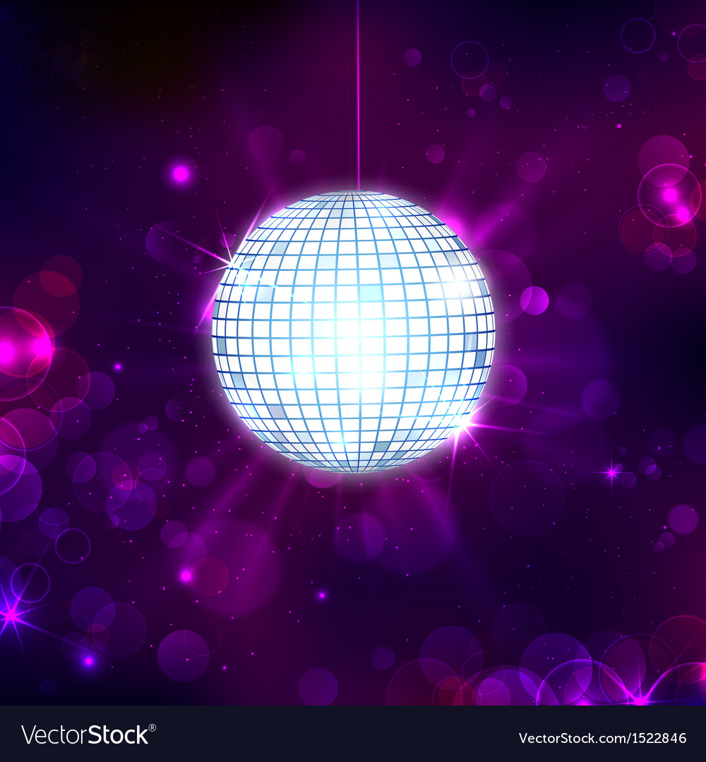 Disco ball on musical background vector