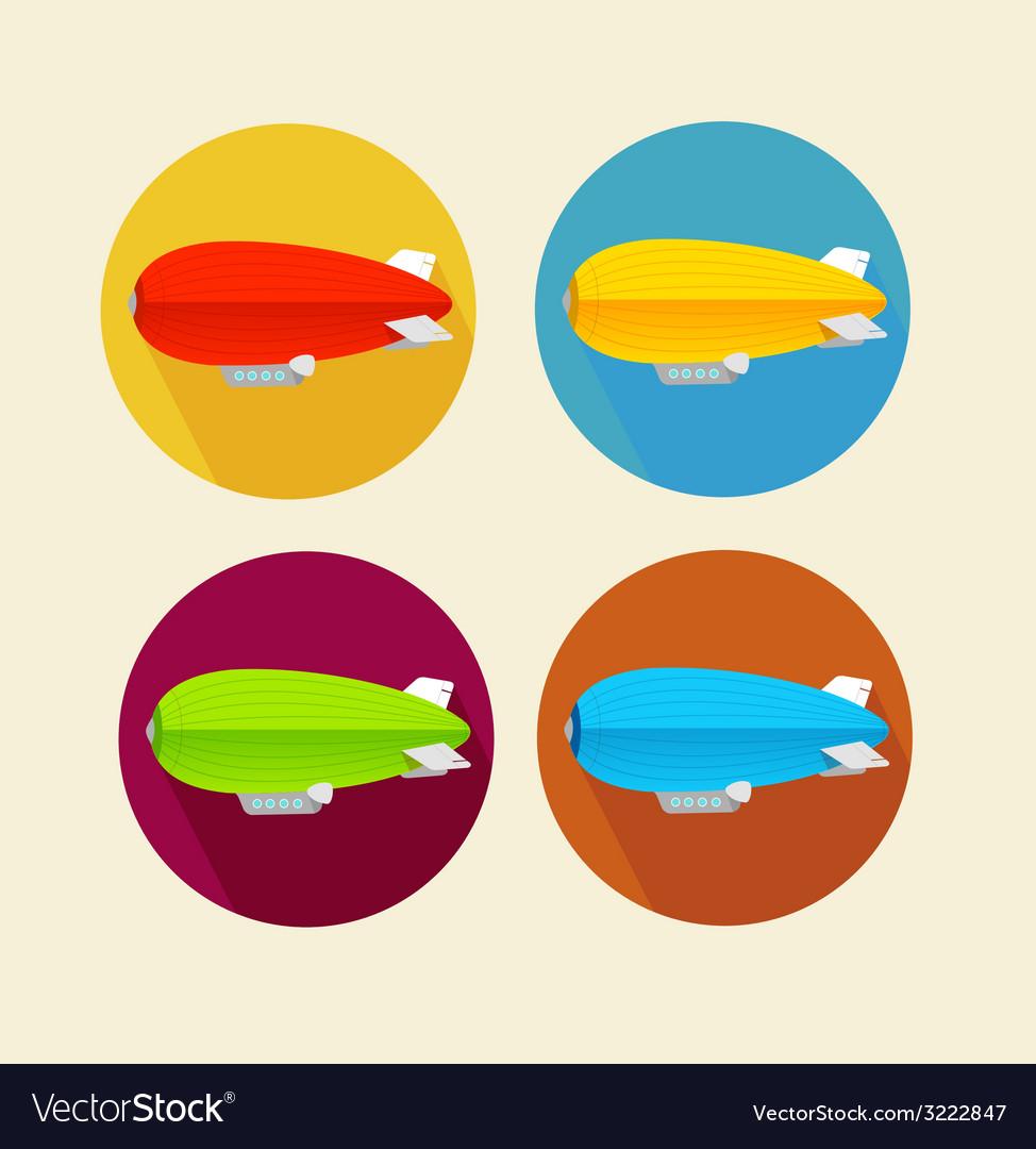 Red dirigible balloon flat icon set vector