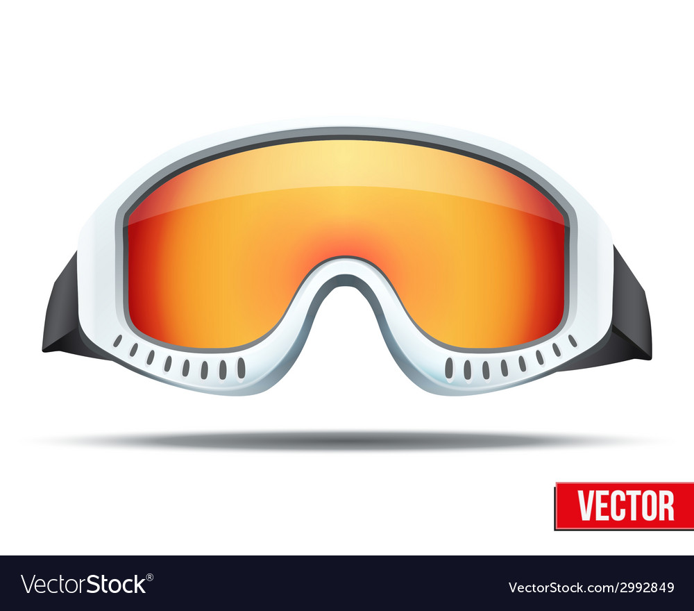Classic snowboard ski goggles with colorful glass vector
