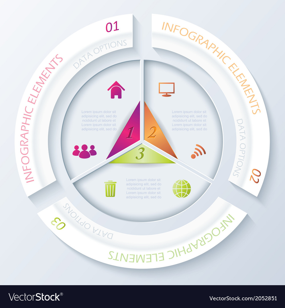 Abstract infographic design with circle and three vector