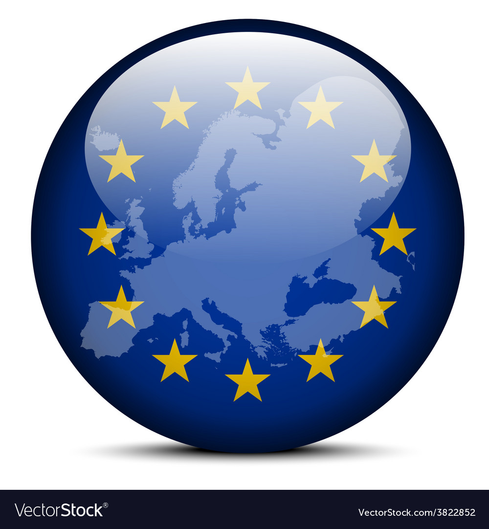Map on flag button of continent of europe vector