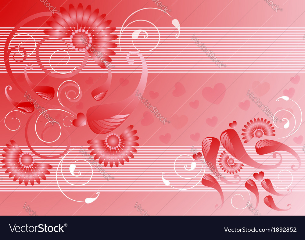 Red satin background with the decor vector