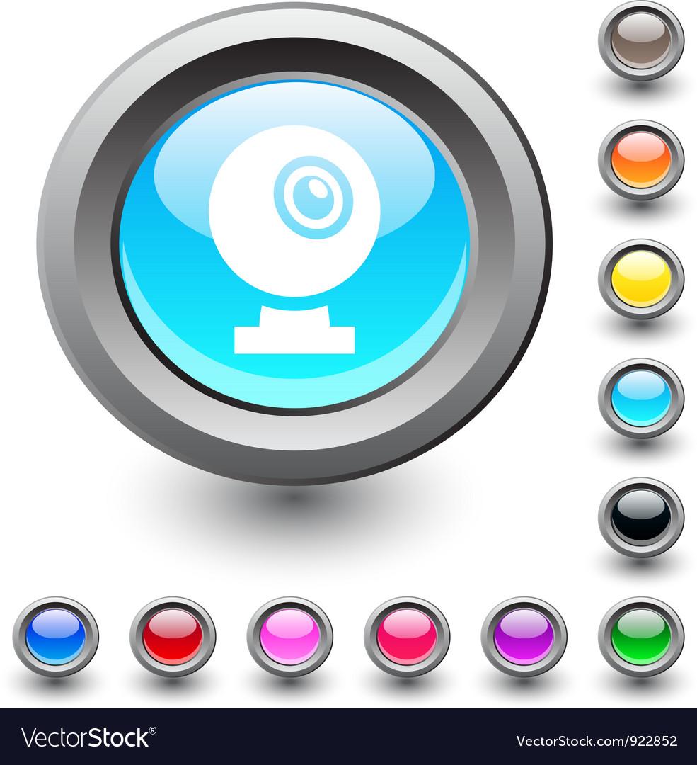 Webcam round button vector