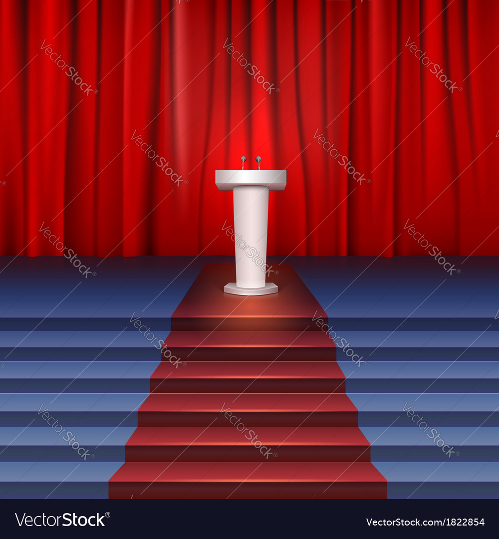 Scene with curtain tribune and stairs covered red vector