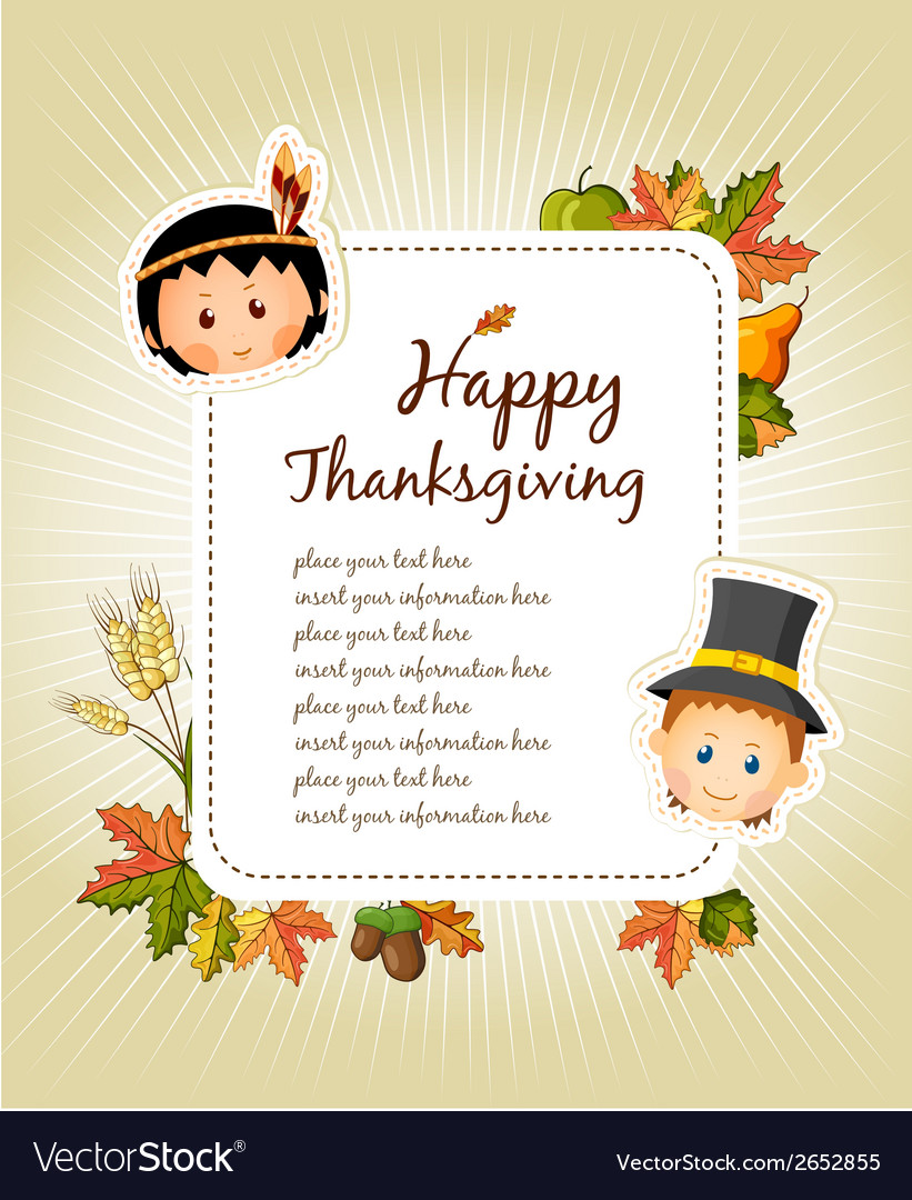 Happy thanksgiving day celebration flyer vector