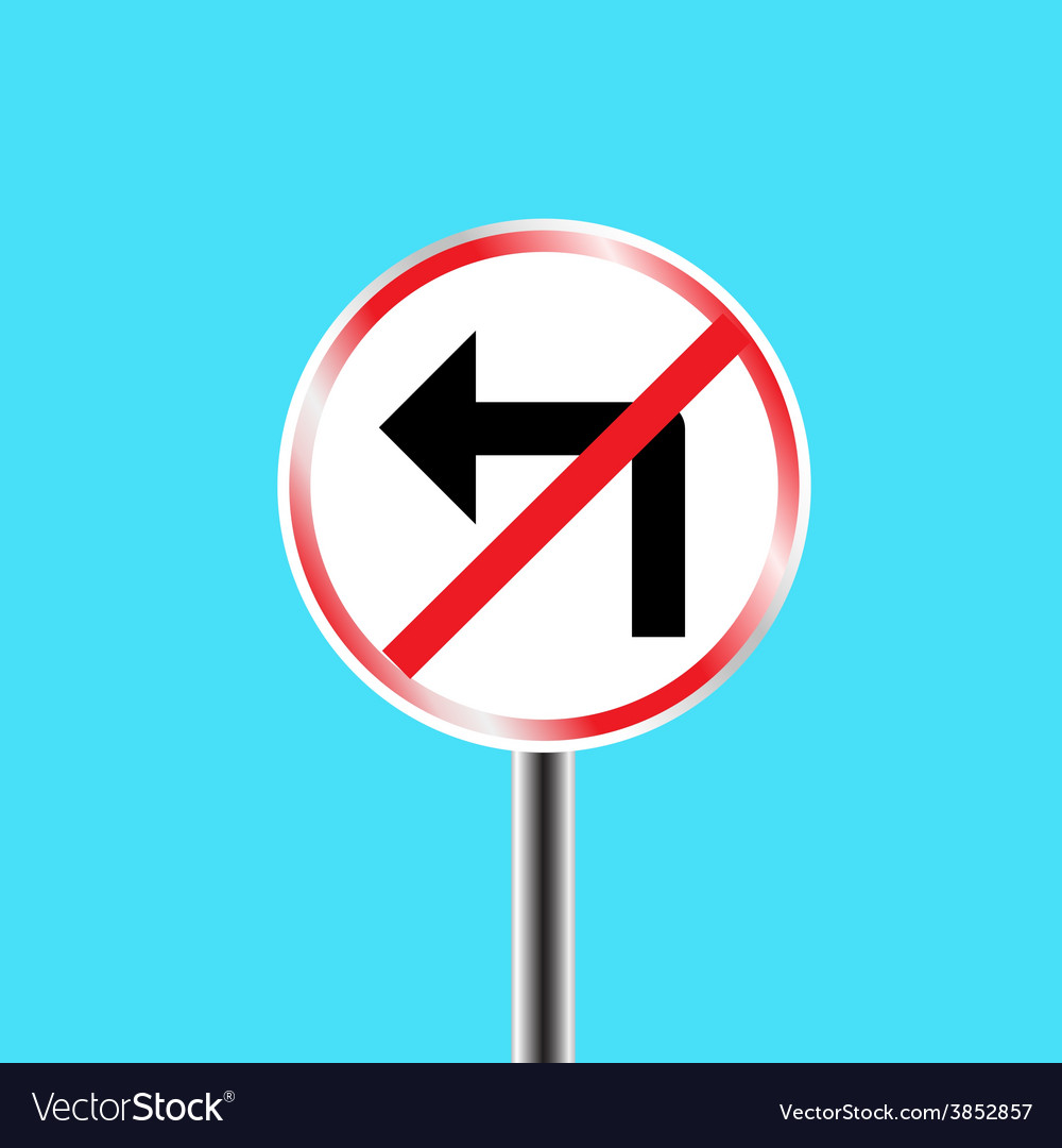 Prohibitory traffic sign left turn prohibited vector