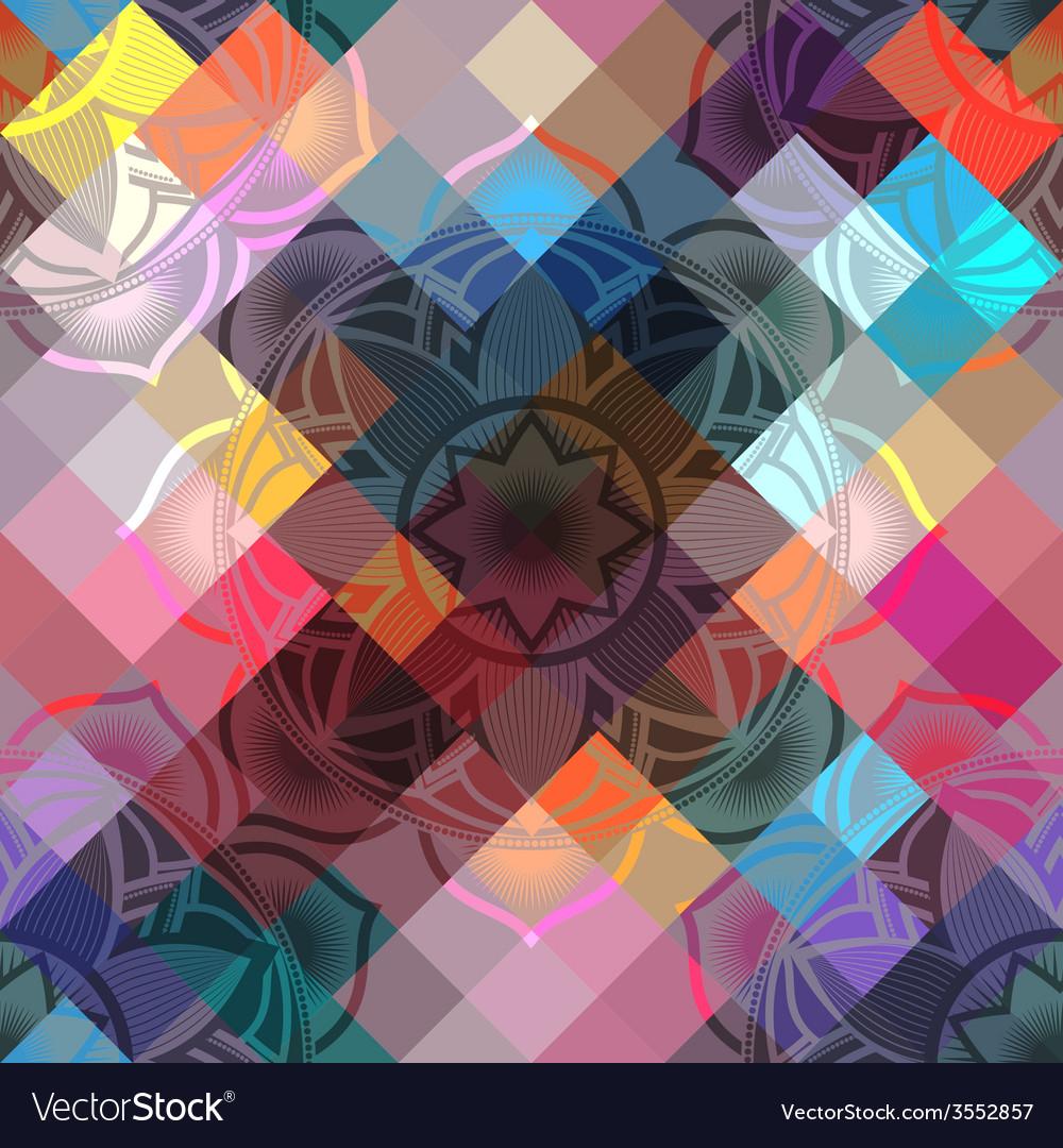 Seamless background pattern of mandala symbols vector