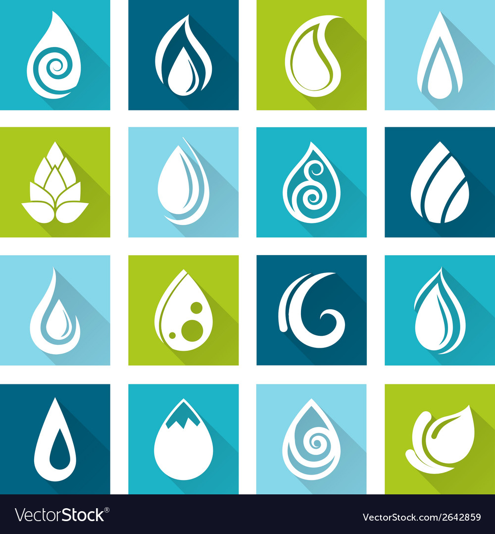 Set of water drops icons vector