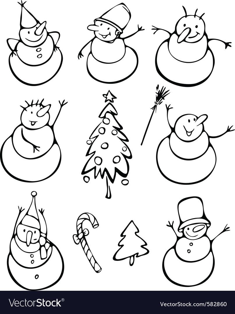 Fun snowmen vector