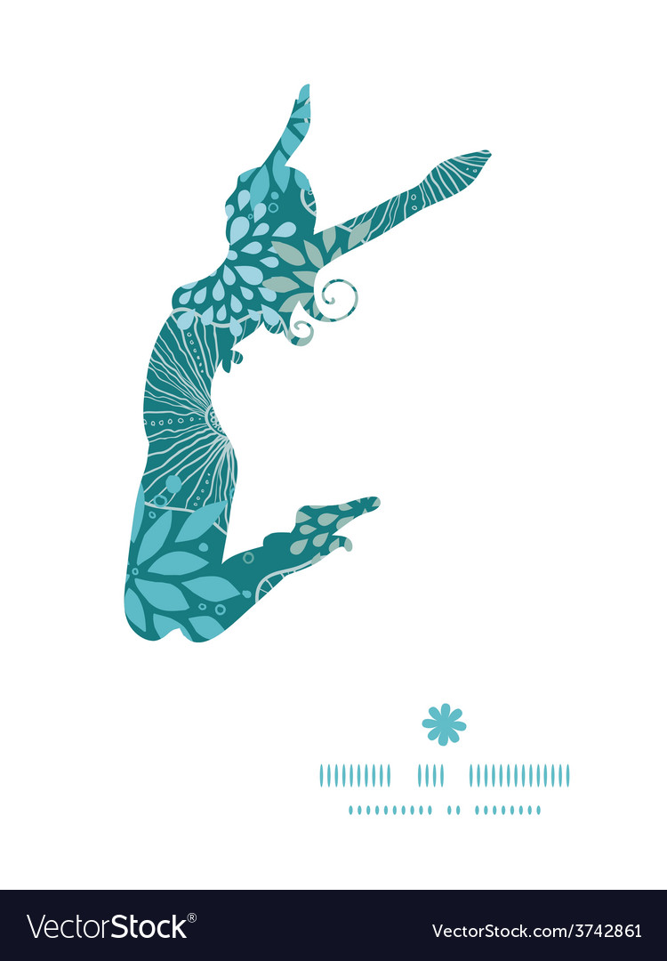 Blue and gray plants jumping girl vector