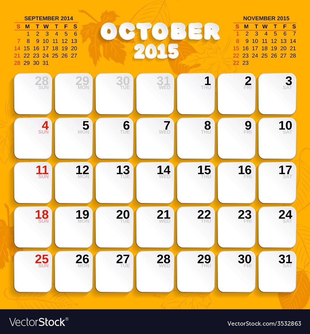October month calendar 2015 vector