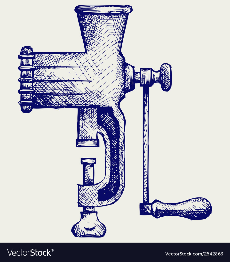 The old manual meat grinder vector