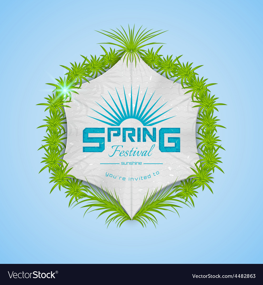 Spring festival realistic badge vector