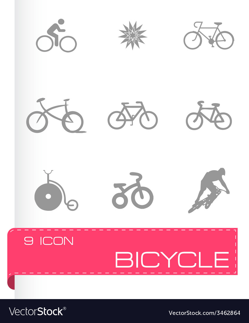 Bicycle icons set vector