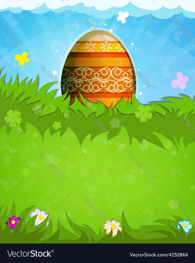 Easter egg with orange pattern vector