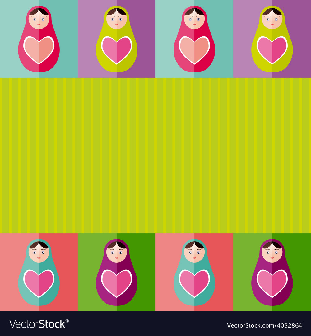 Russian dolls matryoshka with heartcard design vector