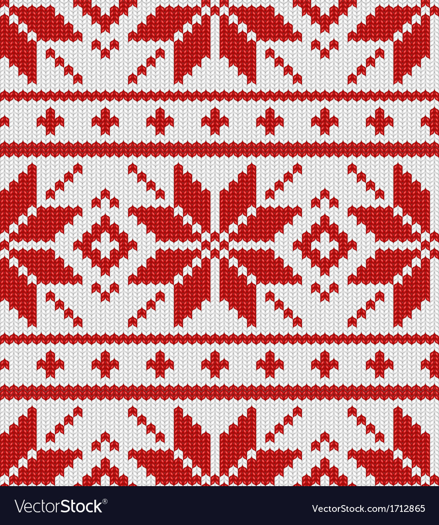 Skandinavian red knitted pattern vector