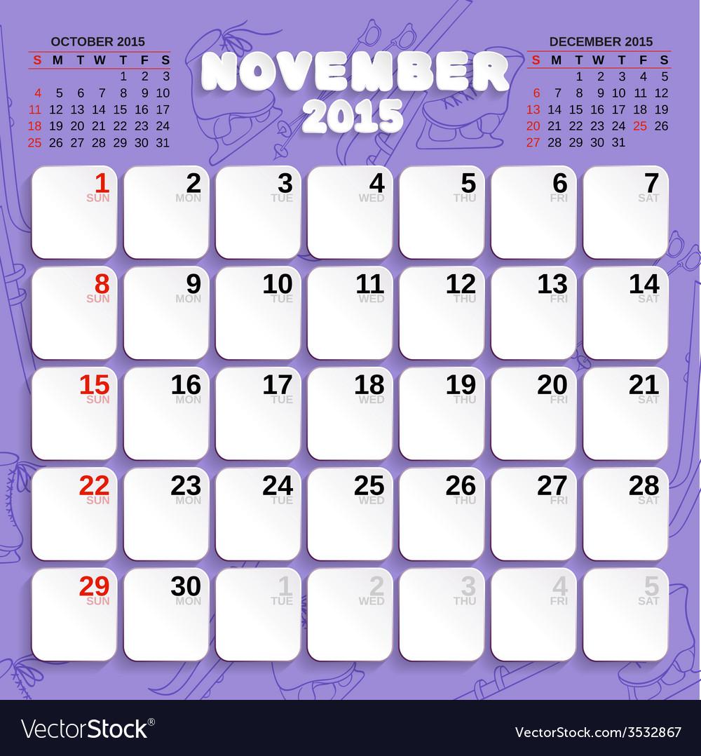 November month calendar 2015 vector