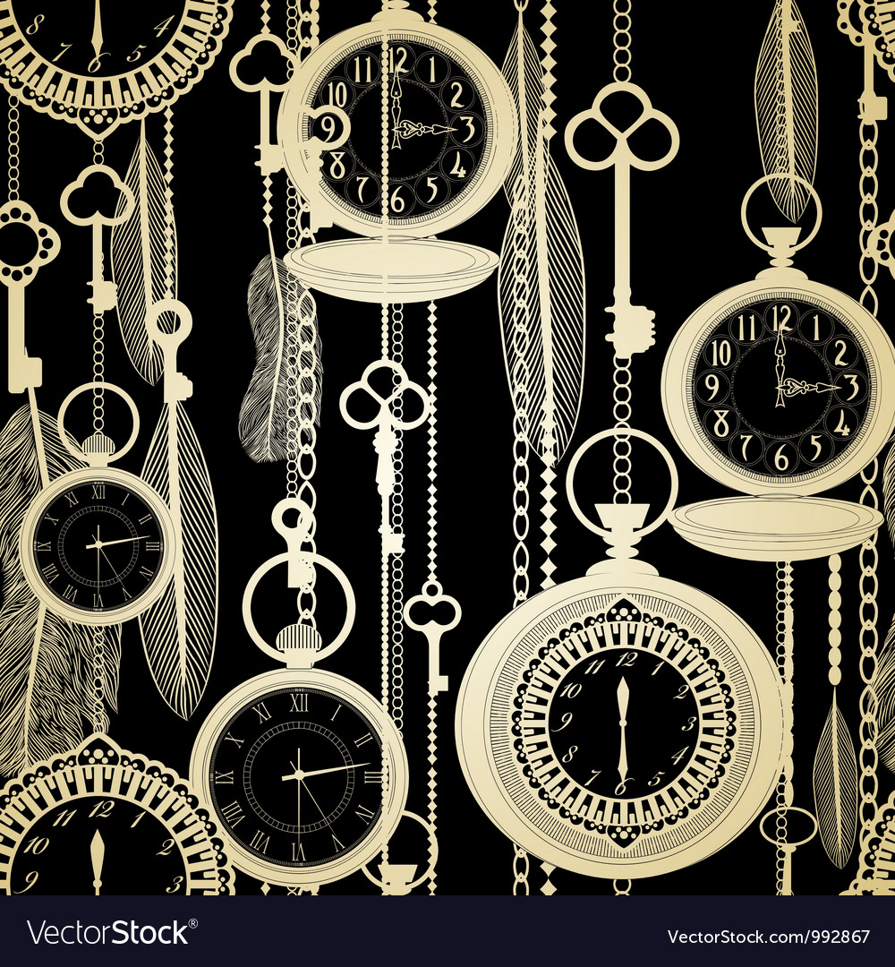 Vintage watches seamless pattern vector