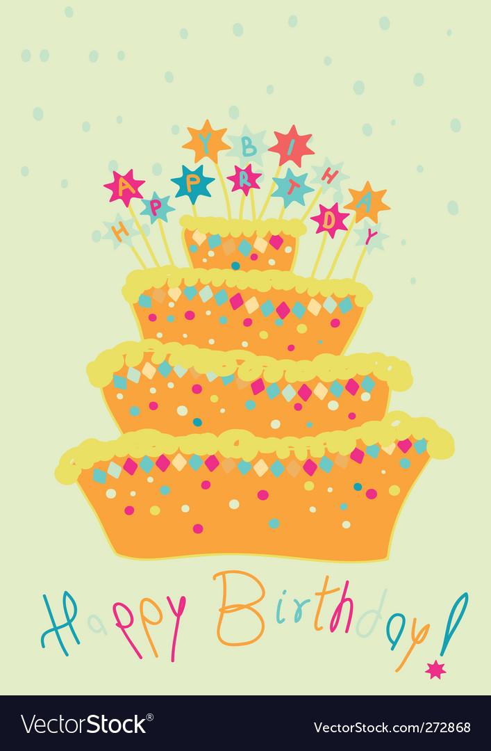 Childlike birthday cake vector