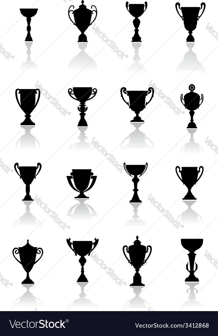 Sporting trophies or winners cups vector