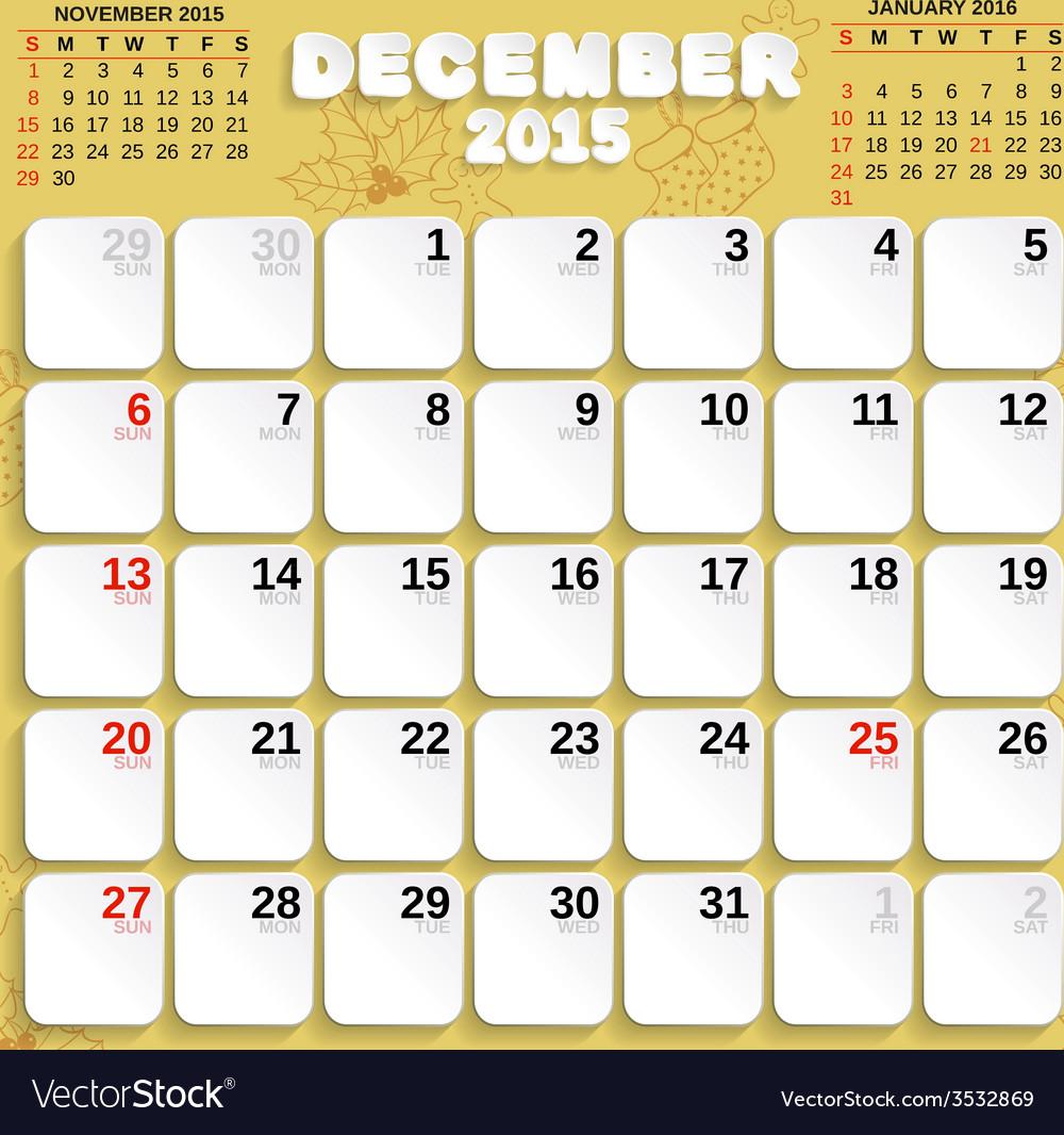 December month calendar 2015 vector